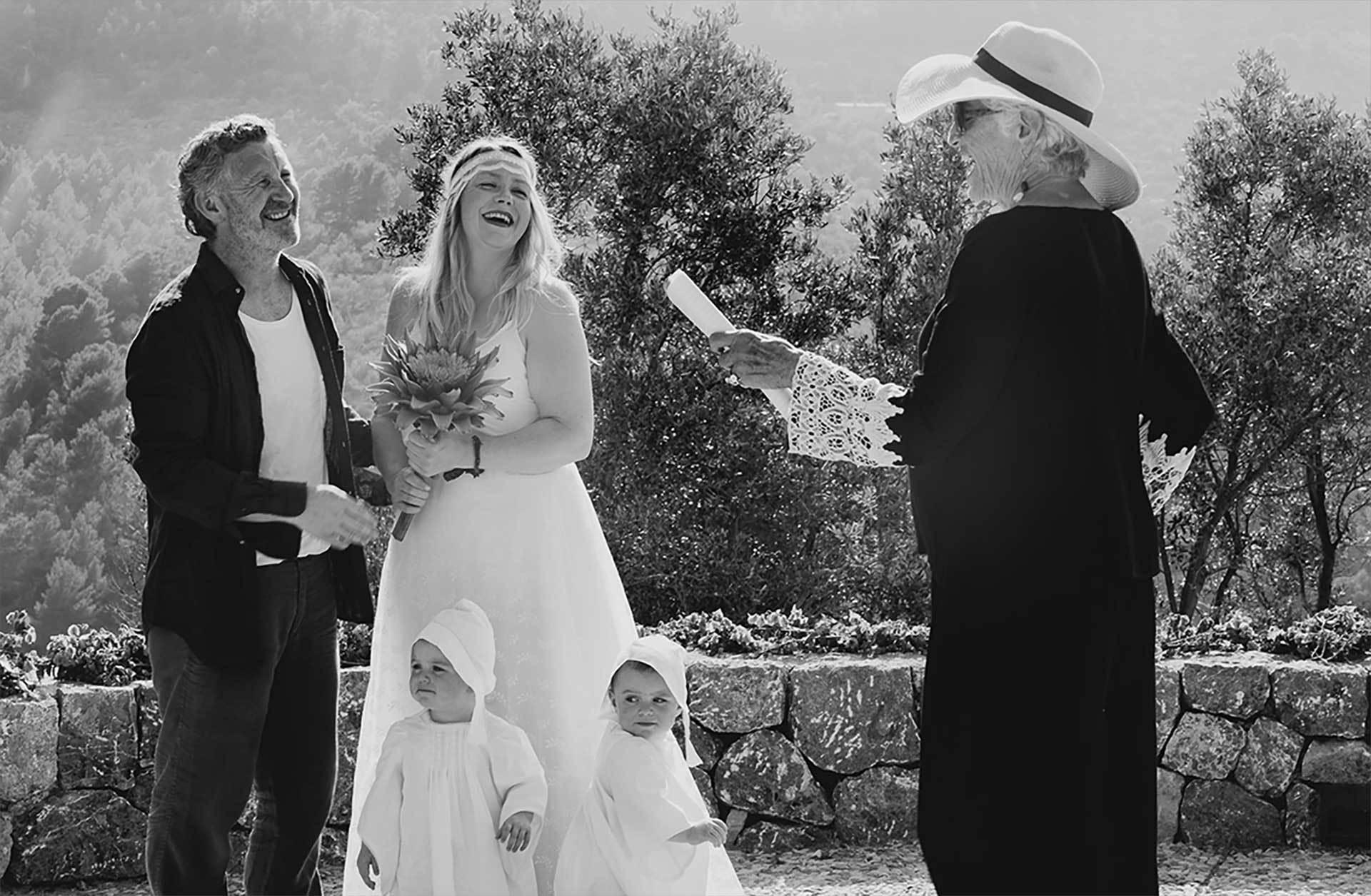 Deia Wedding Smilling Couple Bw