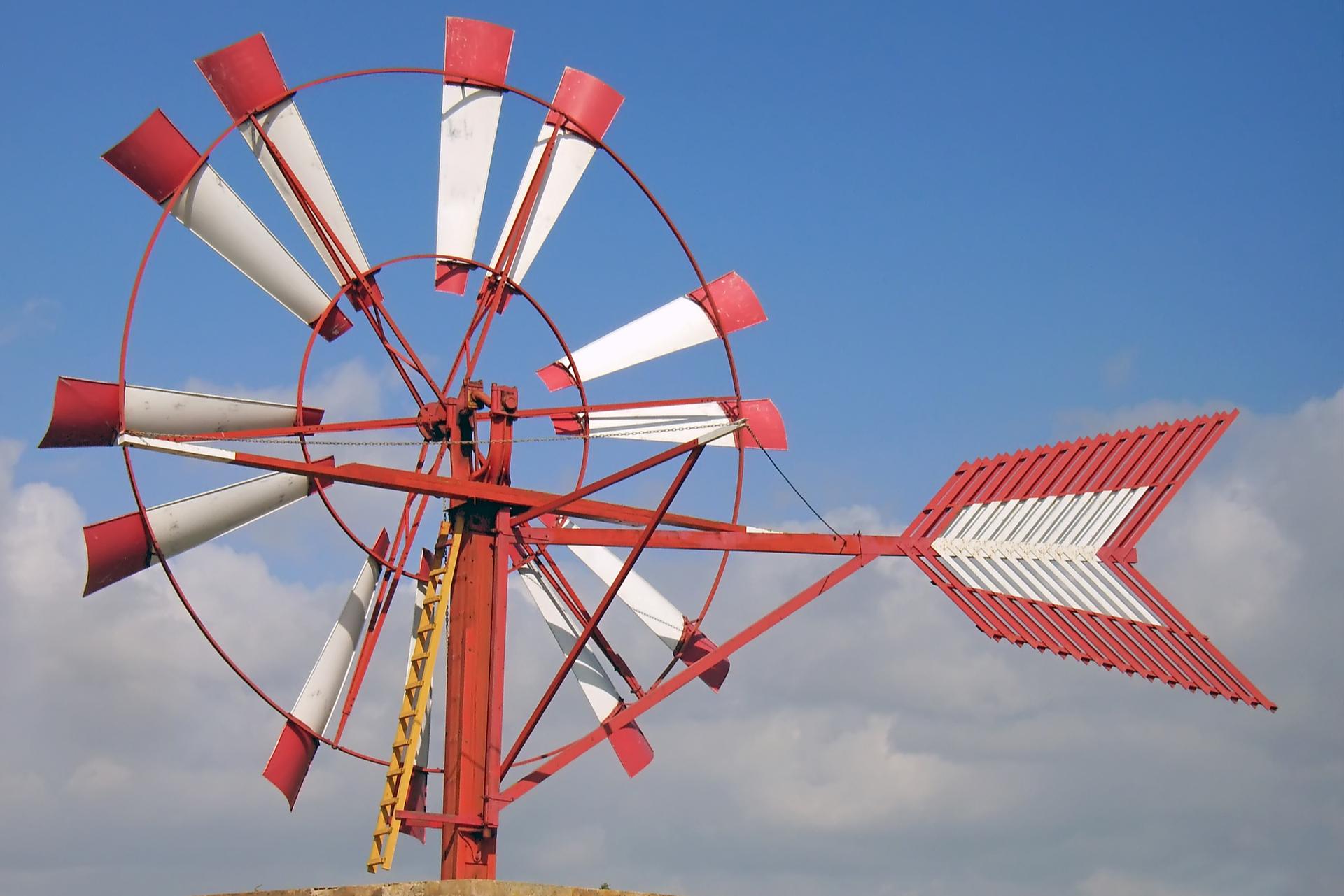 Red Windmill In Field 3