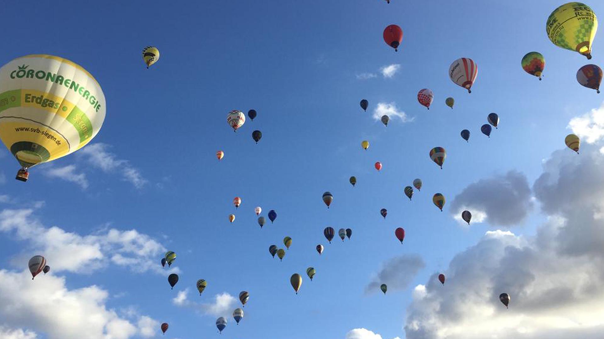 Hot air balloons in the sky mallorca