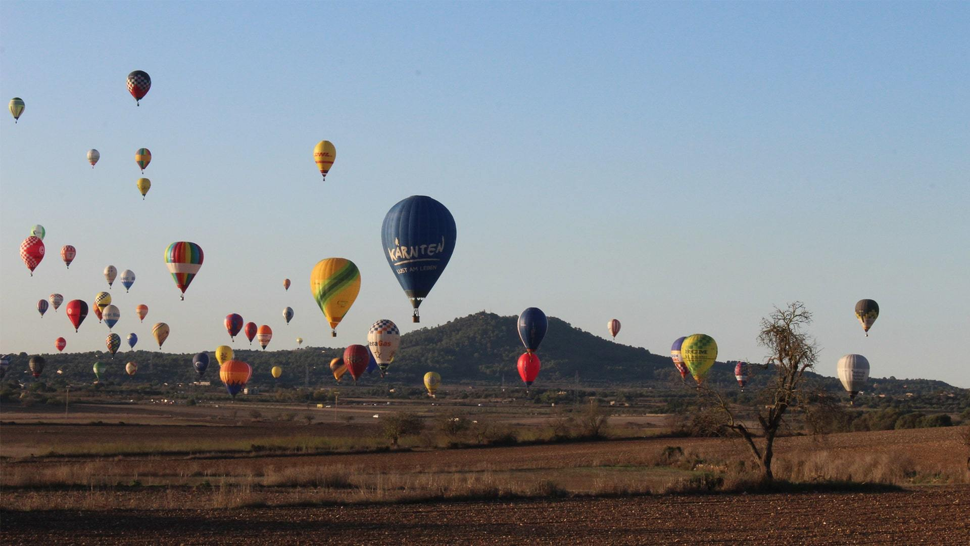 Hundred of hot air balloons flying countryside mallorca spectacular photo Adele Chretien min